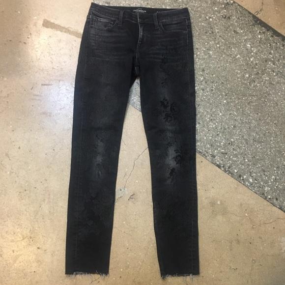 Black floral embroidered skinny stretch jeans